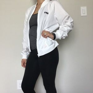 PINK VS White Athletic Bomber Zip Up Jacket